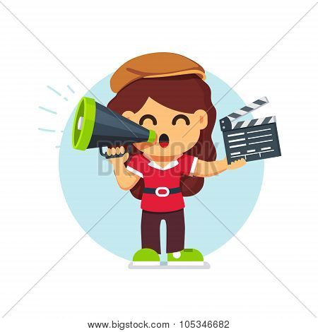 Movie director girl in directors hat standing