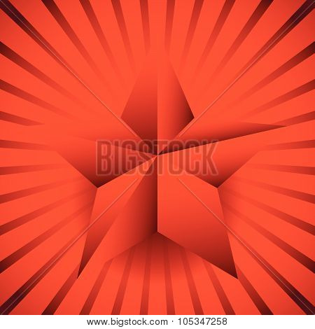 Background With 3D Star And Bursting Rays, Beams.