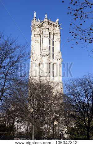 Saint-Jacques Tower on Rivoli street in Paris France.