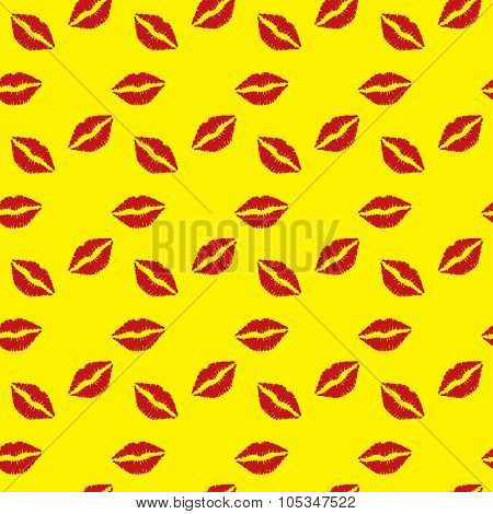 Seamless pattern  red lips on yellow  background