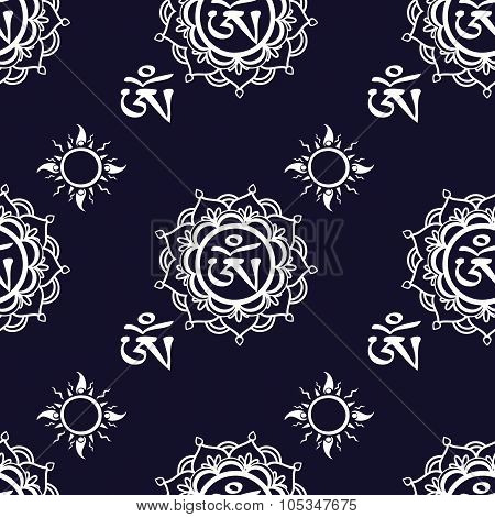 Seamless pattern  with Om ornament