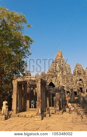 Tourists At The Temple Complex Of Angkor Wat, Cambodia