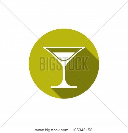 Classic Half Full Martini Glass, Alcohol And Entertainment Theme Illustration. Party Lifestyle Vecto