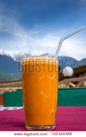 Breakfast in Himalayas on  roof top