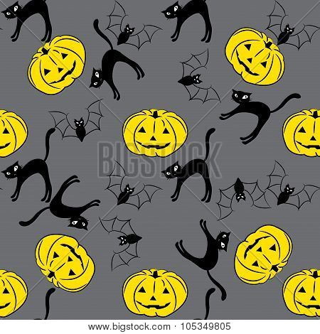 Seamless Pattern With Pumpkins, Bets, Cats