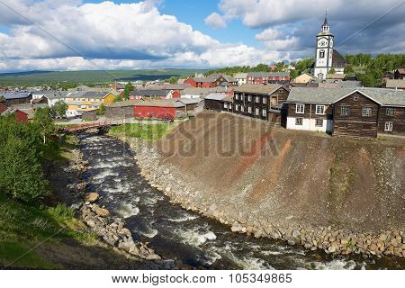 View to the copper mines town of Roros in Roros, Norway.