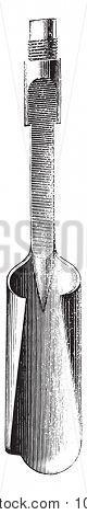 Auger drill, vintage engraved illustration. Industrial encyclopedia E.-O. Lami - 1875.