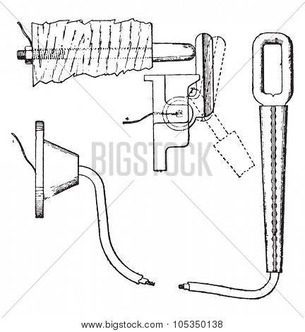 Intercom hook, vintage engraved illustration. Industrial encyclopedia E.-O. Lami - 1875.