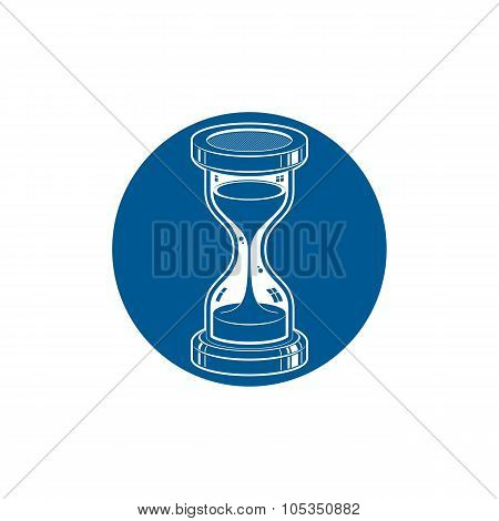 Time Without End Vector Conceptual Icon, Web Design Element. 3D Antique Hourglass Isolated On White.