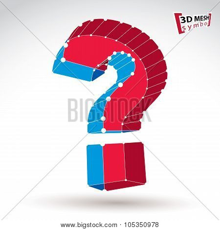 3D Mesh Stylish Red And Blue Web Question Mark Sign Isolated On White Background, Colorful Elegant C
