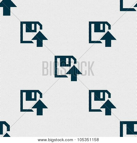 Floppy Icon. Flat Modern Design. Seamless Abstract Background With Geometric Shapes. Vector