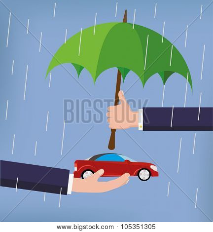 Vector car insurance concept in flat style man's hand holding umbrella over car