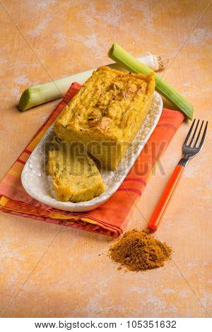 vegetarian cake with leek and curry
