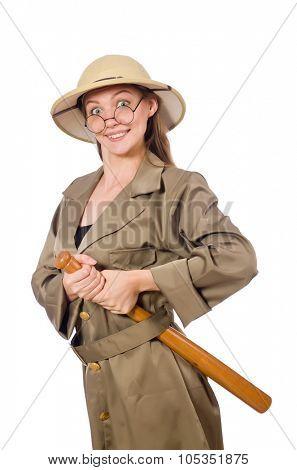 Woman wearing safari hat on white