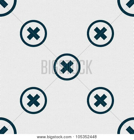 Cancel Icon. No Sign. Seamless Abstract Background With Geometric Shapes.