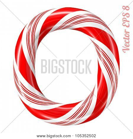 Mint hard candy cane vector alphabet collection striped in Christmas colours. Letter O. Eps 8 using mesh.