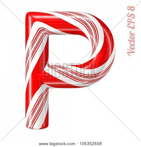Mint hard candy cane vector alphabet collection striped in Christmas colours. Letter P. Eps 8 using mesh.