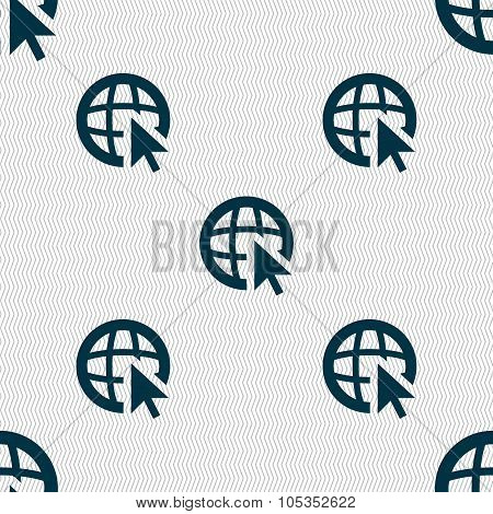 Internet Sign Icon. World Wide Web Symbol. Cursor Pointer. Seamless Abstract Background With Geometr