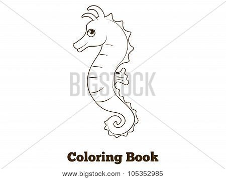 Coloring book sea horse fish cartoon illustration
