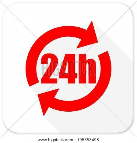 24h red flat icon with long shadow on white background