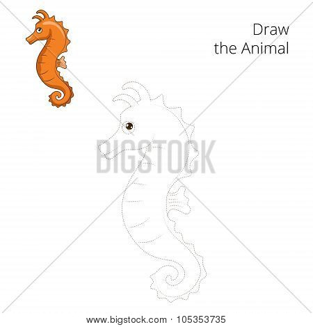 Draw the sea horse educational game vector