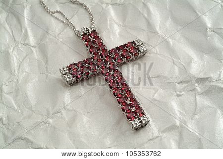 crucifix with rubies