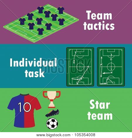 The terms of team success in football, banner or infographics.