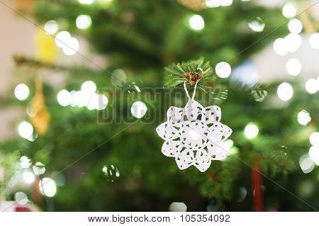 Crocheted decoration on Christmas tree