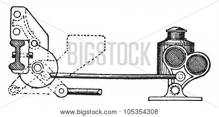Stop cleat indicator, vintage engraved illustration. Industrial encyclopedia E.-O. Lami - 1875.