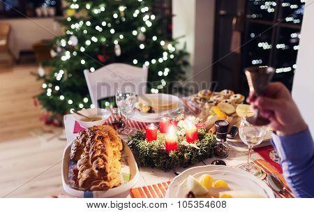 Christmas meal on a table