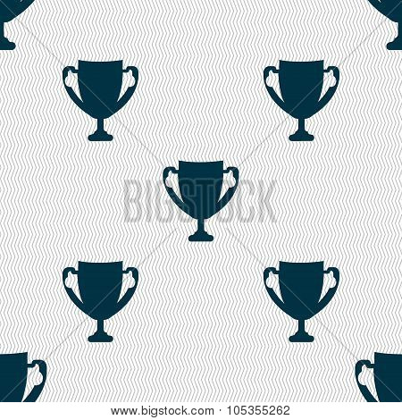 Winner Cup Sign Icon. Awarding Of Winners Symbol. Trophy. Seamless Abstract Background With