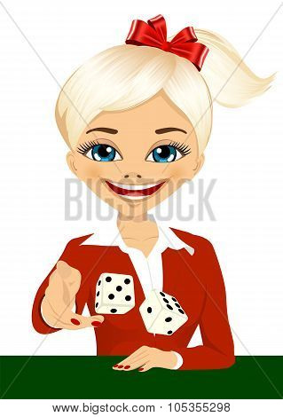 woman throwing the dice gambling playing craps