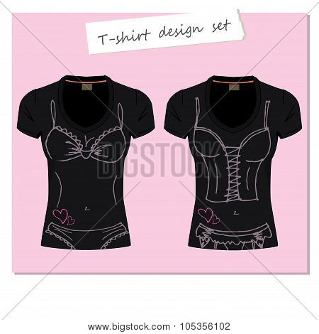Black women's t-shirts with patterned underwear
