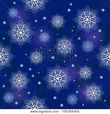 Seamless dark blue snowflake vector pattern.