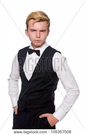 Waiter in black classic vest isolated on white