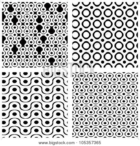 Set Of Grate Seamless Patterns With Geometric Figures, Ornamental Monochrome Wavy Tiles, Infinite Ge
