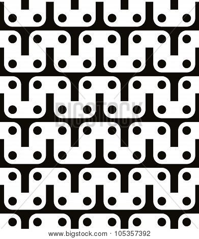 Polka Dot Seamless Pattern With Geometric Figures, Black And White Infinite Twisted Mosaic Backgroun