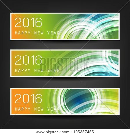 Set of Horizontal New Year Banners - 2016 Version With Colorful Background and Transparent Concentric Circles