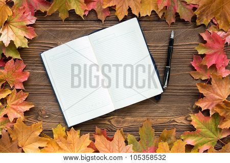 diary and pen with fallen leaves