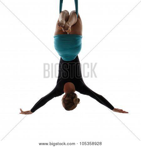 Aerial Dancer Hanging On Silk