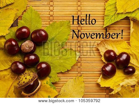 Text Hello November On Rustic Background