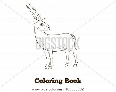 Coloring book gazelle african animal cartoon