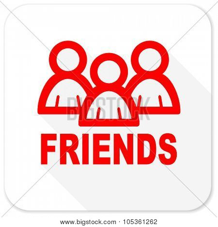 friends red flat icon with long shadow on white background