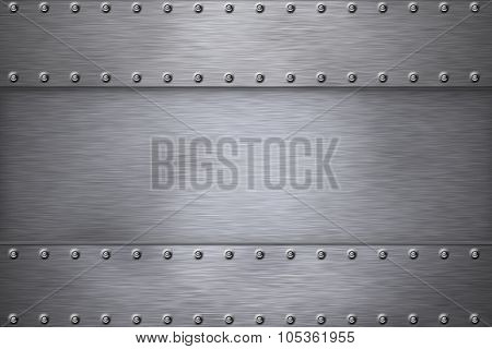 Rivets in brushed steel background
