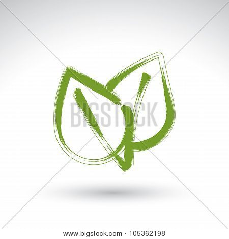 Hand Drawn Simple Vector Green Eco Leaves Icon, Real Ink Brush Drawing Ecology Symbol, Hand-painted