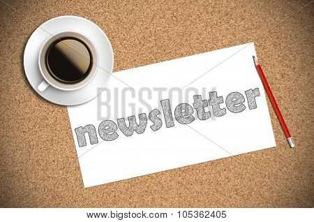 Coffee And Pencil Sketch Newsletter On Paper
