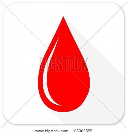 water drop red flat icon with long shadow on white background