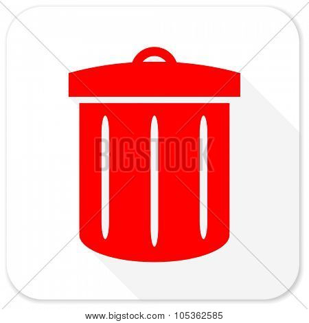 recycle red flat icon with long shadow on white background