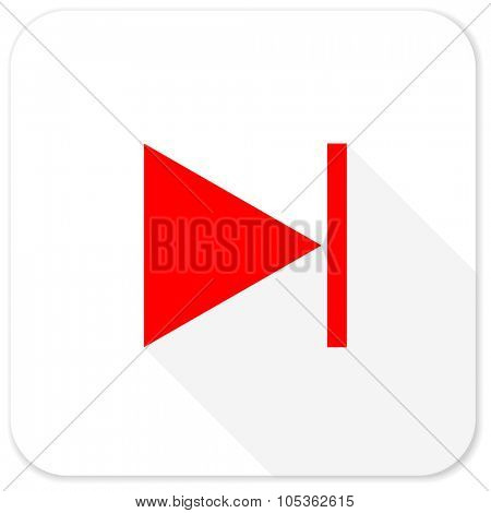 next red flat icon with long shadow on white background