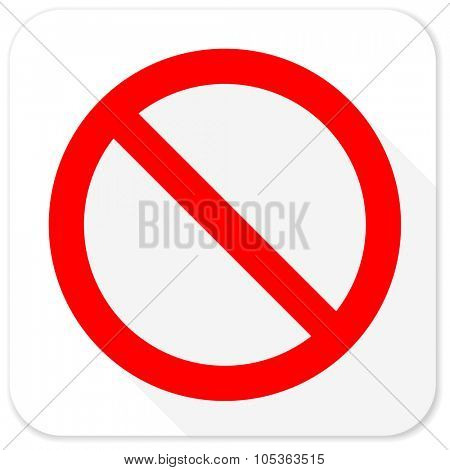 access denied red flat icon with long shadow on white background